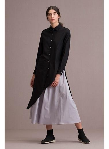 Eda Atalay Asimetrik Gömlek Etek İkili Takım Siyah